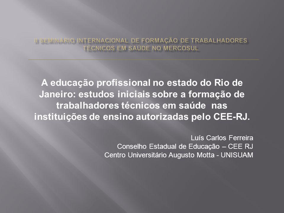 A educação profissional no estado do Rio de Janeiro: estudos iniciais sobre a formação de trabalhadores técnicos em saúde nas instituições de ensino a