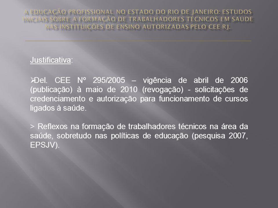 Justificativa: Del. CEE Nº 295/2005 – vigência de abril de 2006 (publicação) à maio de 2010 (revogação) - solicitações de credenciamento e autorização