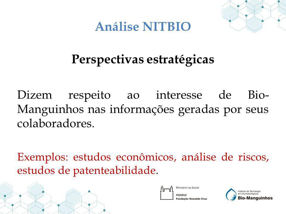 Análise NITBIO Perspectivas estratégicas Dizem respeito ao interesse de Bio- Manguinhos nas informações geradas por seus colaboradores. Exemplos: estu