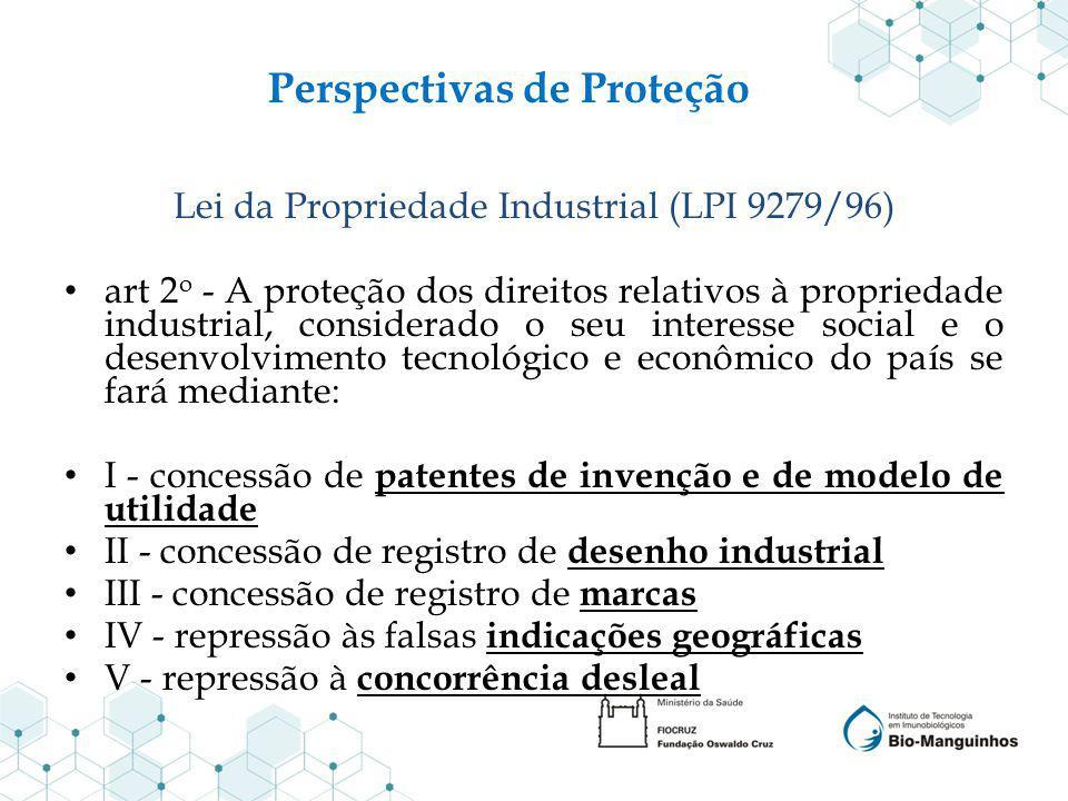 Perspectivas de Proteção Lei da Propriedade Industrial (LPI 9279/96) art 2 o - A proteção dos direitos relativos à propriedade industrial, considerado