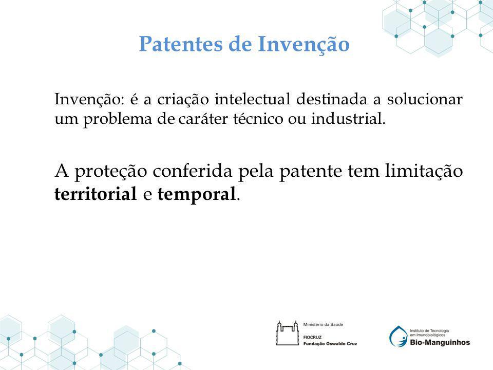 Patentes de Invenção Invenção: é a criação intelectual destinada a solucionar um problema de caráter técnico ou industrial. A proteção conferida pela