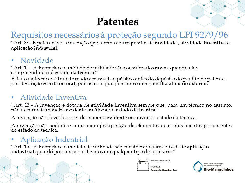 Patentes Requisitos necessários à proteção segundo LPI 9279/96 Art. 8 o - É patenteável a invenção que atenda aos requisitos de novidade, atividade in