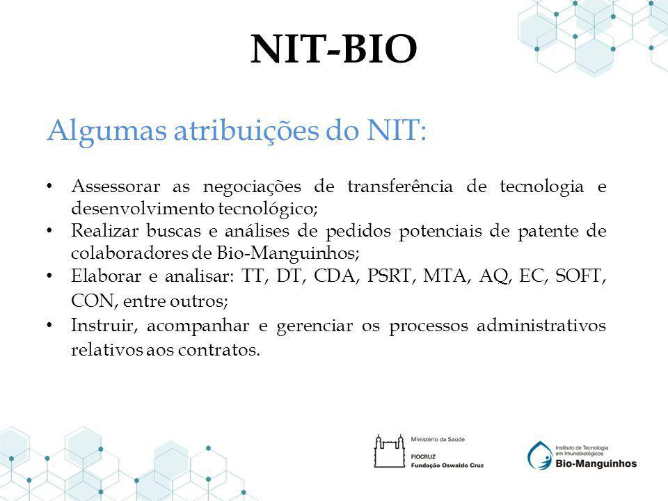 NIT-BIO Algumas atribuições do NIT: Assessorar as negociações de transferência de tecnologia e desenvolvimento tecnológico; Realizar buscas e análises