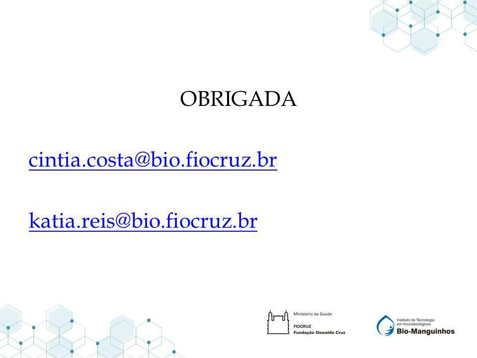 OBRIGADA cintia.costa@bio.fiocruz.br katia.reis@bio.fiocruz.br