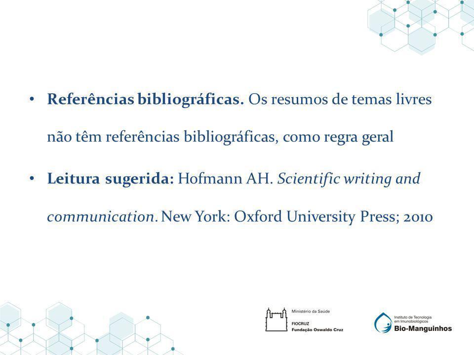 Referências bibliográficas.
