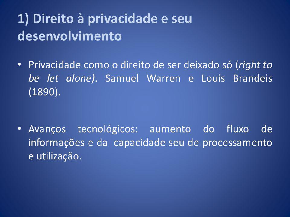 1) Direito à privacidade e seu desenvolvimento Privacidade como o direito de ser deixado só (right to be let alone). Samuel Warren e Louis Brandeis (1