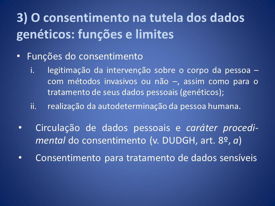 3) O consentimento na tutela dos dados genéticos: funções e limites Funções do consentimento i.legitimação da intervenção sobre o corpo da pessoa – co