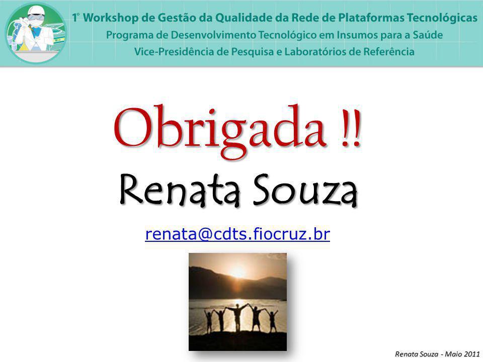 Renata Souza - Maio 2011 Obrigada !! Renata Souza renata@cdts.fiocruz.br