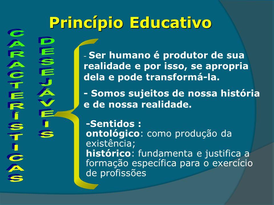 Princípio Educativo - Ser humano é produtor de sua realidade e por isso, se apropria dela e pode transformá-la. - Somos sujeitos de nossa história e d