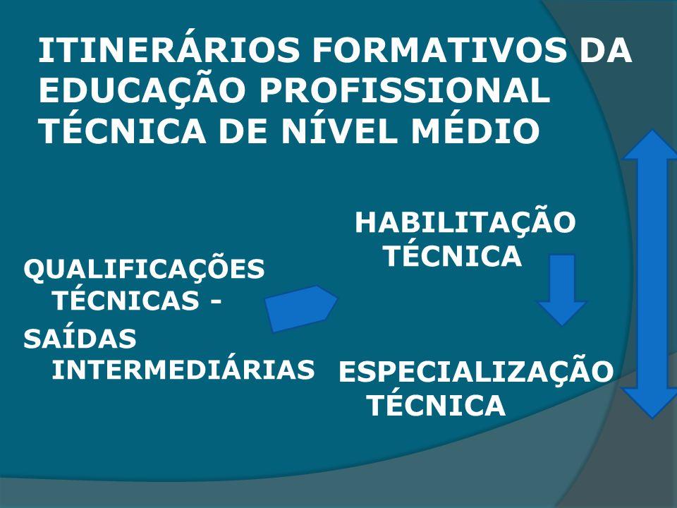 ITINERÁRIOS FORMATIVOS DA EDUCAÇÃO PROFISSIONAL TÉCNICA DE NÍVEL MÉDIO QUALIFICAÇÕES TÉCNICAS - SAÍDAS INTERMEDIÁRIAS HABILITAÇÃO TÉCNICA ESPECIALIZAÇÃO TÉCNICA
