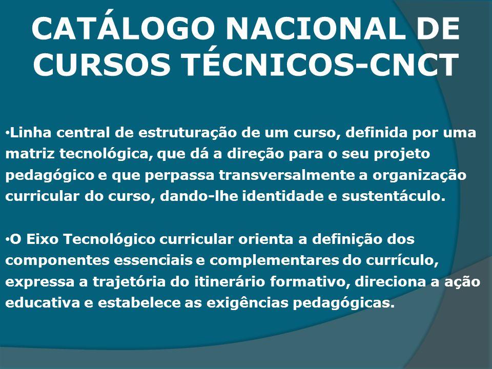 CATÁLOGO NACIONAL DE CURSOS TÉCNICOS-CNCT Linha central de estruturação de um curso, definida por uma matriz tecnológica, que dá a direção para o seu