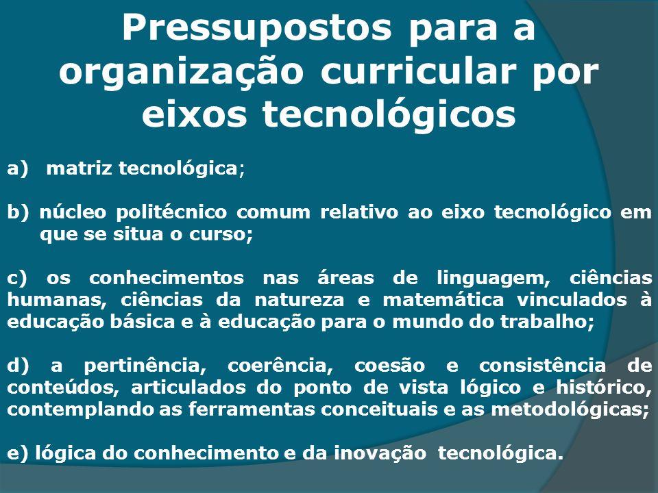 Pressupostos para a organização curricular por eixos tecnológicos. a) matriz tecnológica; b) núcleo politécnico comum relativo ao eixo tecnológico em