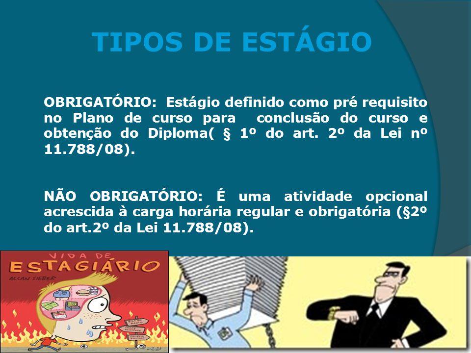 TIPOS DE ESTÁGIO OBRIGATÓRIO: Estágio definido como pré requisito no Plano de curso para conclusão do curso e obtenção do Diploma( § 1º do art. 2º da