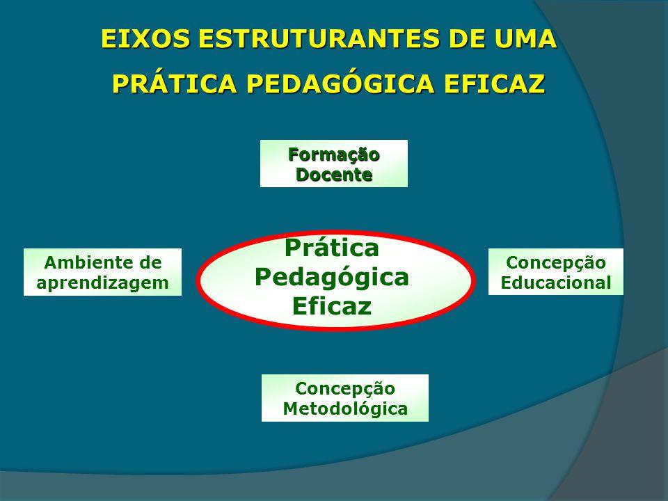 EIXOS ESTRUTURANTES DE UMA PRÁTICA PEDAGÓGICA EFICAZ Prática Pedagógica Eficaz Formação Docente Concepção Educacional Concepção Metodológica Ambiente de aprendizagem