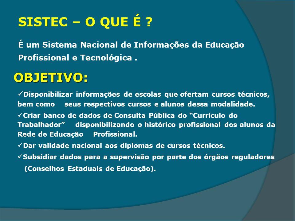 SISTEC – O QUE É ? É um Sistema Nacional de Informações da Educação Profissional e Tecnológica. OBJETIVO: Disponibilizar informações de escolas que of