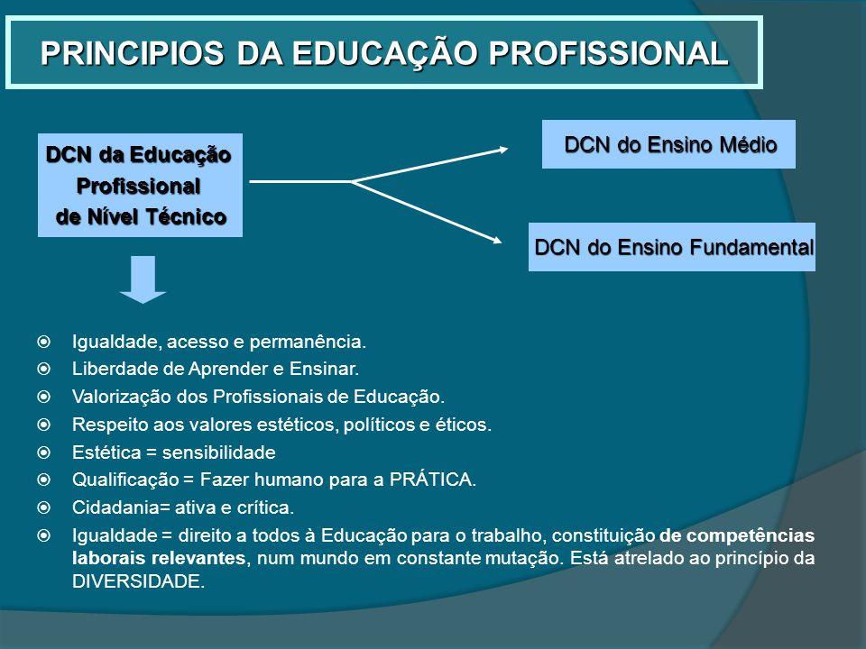 PRINCIPIOS DA EDUCAÇÃO PROFISSIONAL Igualdade, acesso e permanência. Liberdade de Aprender e Ensinar. Valorização dos Profissionais de Educação. Respe