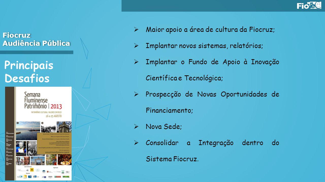 Principais Desafios Fiocruz Audiência Pública Fiocruz Audiência Pública Maior apoio a área de cultura da Fiocruz; Implantar novos sistemas, relatórios