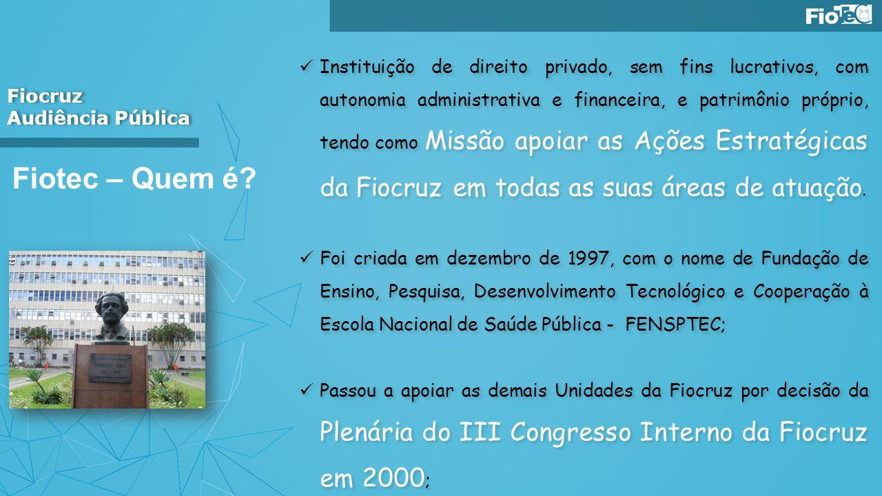 Fiocruz Audiência Pública Fiocruz Audiência Pública Fiotec – Quem é? Instituição de direito privado, sem fins lucrativos, com autonomia administrativa