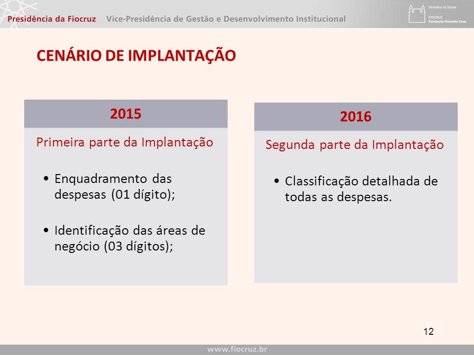 CENÁRIO DE IMPLANTAÇÃO 12 2015 Primeira parte da Implantação Enquadramento das despesas (01 dígito); Identificação das áreas de negócio (03 dígitos); 2016 Segunda parte da Implantação Classificação detalhada de todas as despesas.