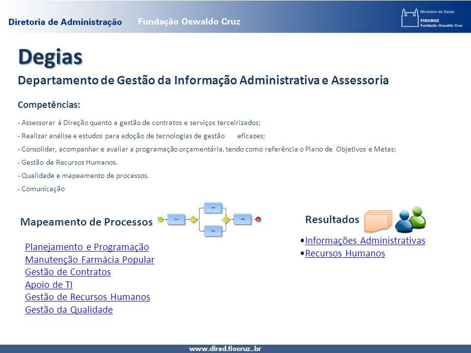 Degias Departamento de Gestão da Informação Administrativa e Assessoria Competências: - Assessorar à Direção quanto a gestão de contratos e serviços t