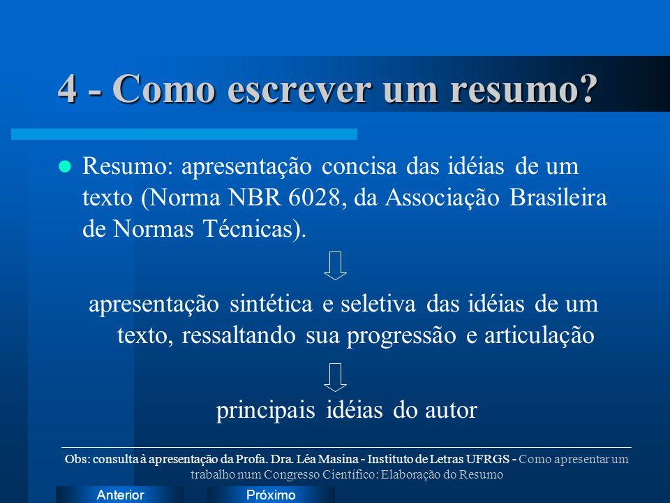 PróximoAnterior 4 - Como escrever um resumo? Resumo: apresentação concisa das idéias de um texto (Norma NBR 6028, da Associação Brasileira de Normas T