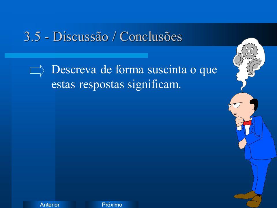 PróximoAnterior 3.5 - Discussão / Conclusões Descreva de forma suscinta o que estas respostas significam.