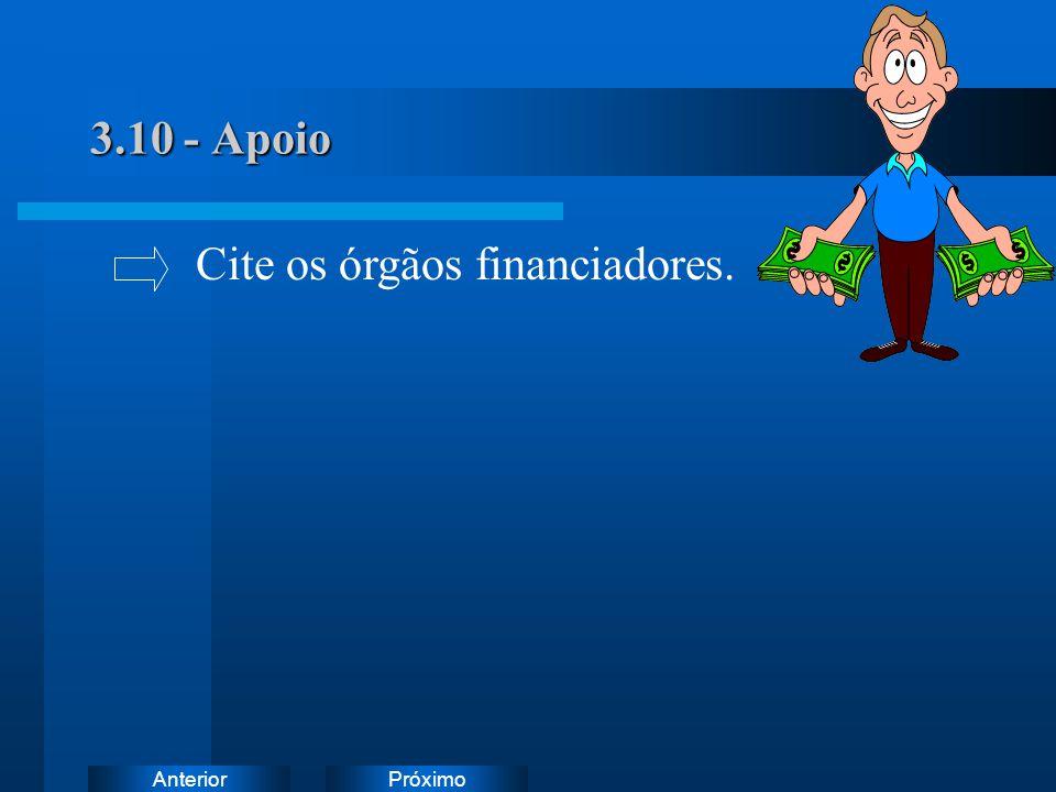 PróximoAnterior 3.10 - Apoio Cite os órgãos financiadores.