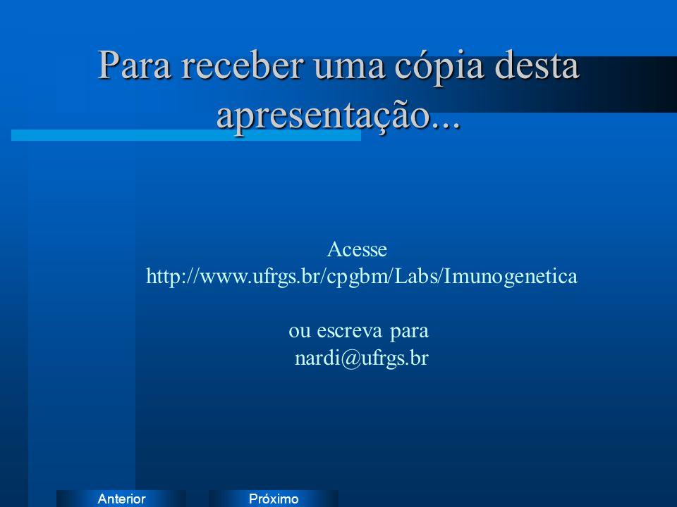 PróximoAnterior Para receber uma cópia desta apresentação... Acesse http://www.ufrgs.br/cpgbm/Labs/Imunogenetica ou escreva para nardi@ufrgs.br