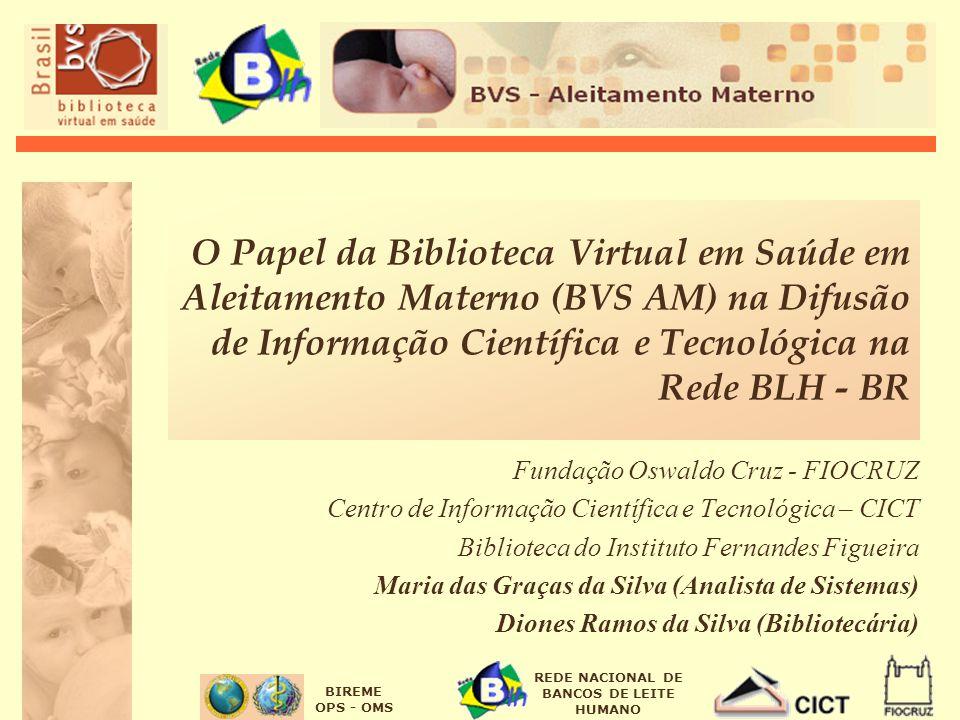 BIREME OPS - OMS REDE NACIONAL DE BANCOS DE LEITE HUMANO O Papel da Biblioteca Virtual em Saúde em Aleitamento Materno (BVS AM) na Difusão de Informaç