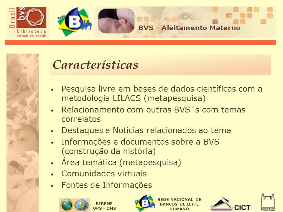 BIREME OPS - OMS REDE NACIONAL DE BANCOS DE LEITE HUMANO Características Pesquisa livre em bases de dados científicas com a metodologia LILACS (metape