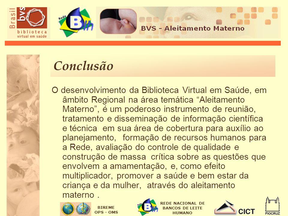 BIREME OPS - OMS REDE NACIONAL DE BANCOS DE LEITE HUMANO Conclusão O desenvolvimento da Biblioteca Virtual em Saúde, em âmbito Regional na área temáti