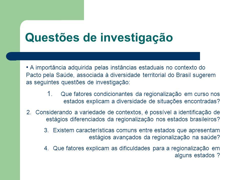 A importância adquirida pelas instâncias estaduais no contexto do Pacto pela Saúde, associada à diversidade territorial do Brasil sugerem as seguintes
