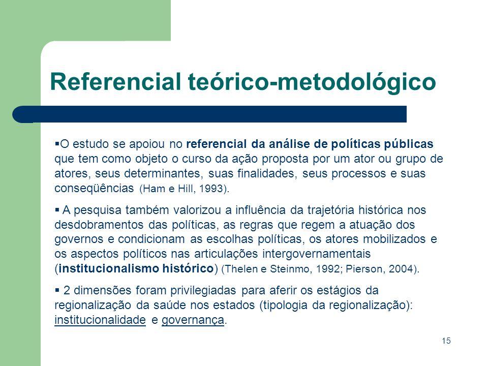 15 O estudo se apoiou no referencial da análise de políticas públicas que tem como objeto o curso da ação proposta por um ator ou grupo de atores, seu