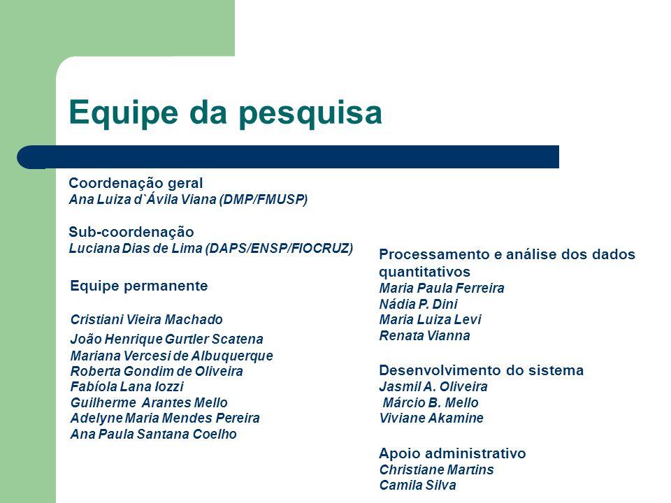 Equipe da pesquisa Coordenação geral Ana Luiza d`Ávila Viana (DMP/FMUSP) Sub-coordenação Luciana Dias de Lima (DAPS/ENSP/FIOCRUZ) Equipe permanente Cr
