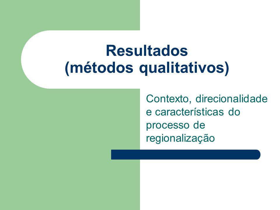 Resultados (métodos qualitativos) Contexto, direcionalidade e características do processo de regionalização
