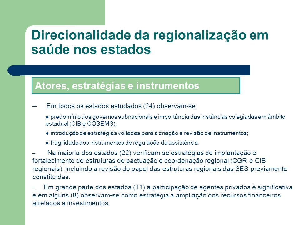 – Em todos os estados estudados (24) observam-se: predomínio dos governos subnacionais e importância das instâncias colegiadas em âmbito estadual (CIB