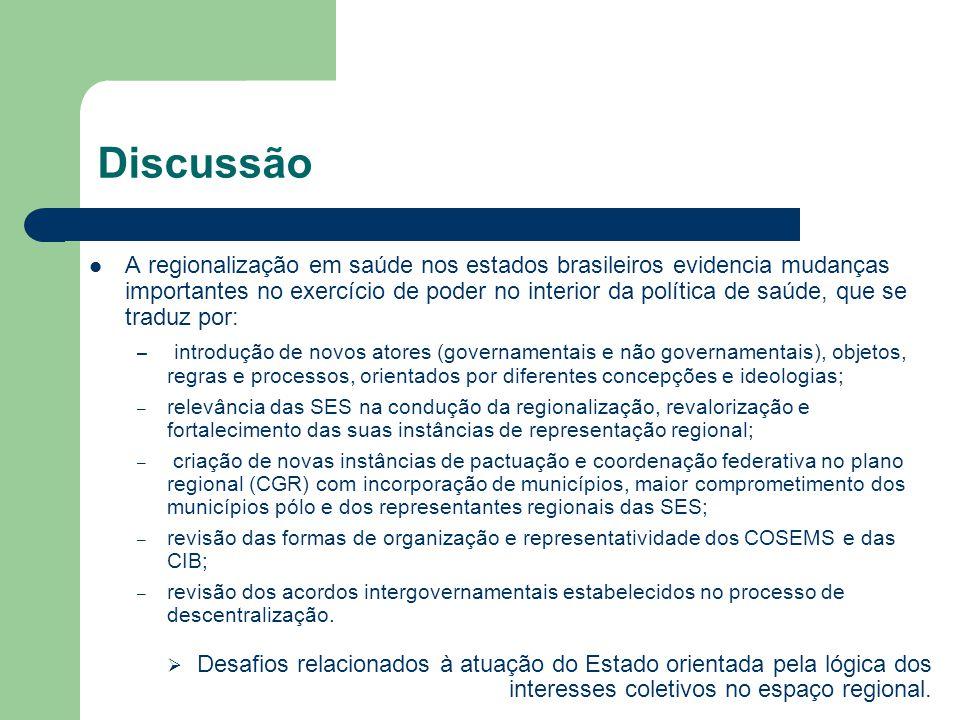 Discussão A regionalização em saúde nos estados brasileiros evidencia mudanças importantes no exercício de poder no interior da política de saúde, que
