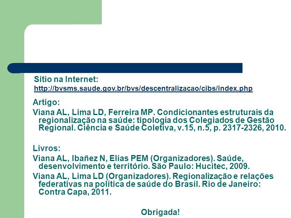 Artigo: Viana AL, Lima LD, Ferreira MP. Condicionantes estruturais da regionalização na saúde: tipologia dos Colegiados de Gestão Regional. Ciência e