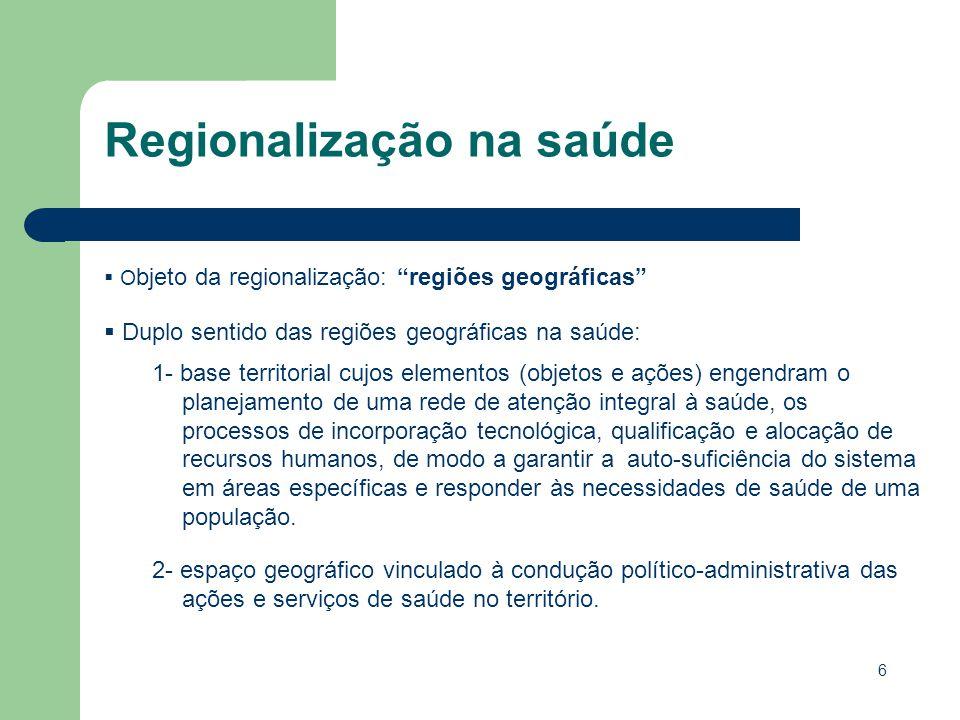 6 O bjeto da regionalização: regiões geográficas Duplo sentido das regiões geográficas na saúde: 1- base territorial cujos elementos (objetos e ações)