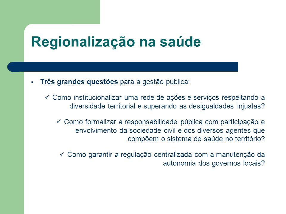 Três grandes questões para a gestão pública: Como institucionalizar uma rede de ações e serviços respeitando a diversidade territorial e superando as