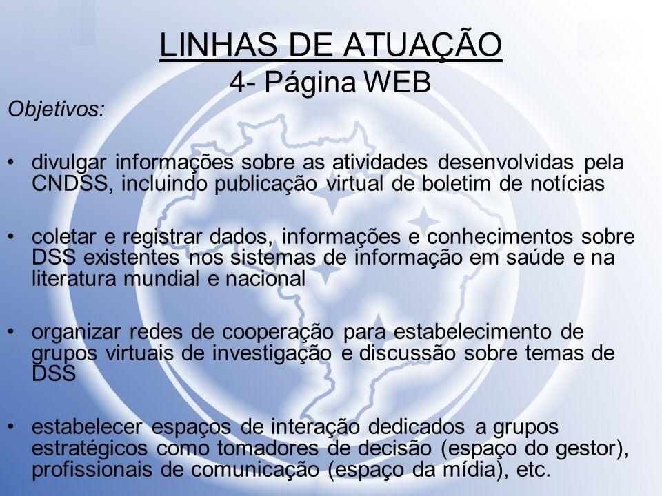LINHAS DE ATUAÇÃO 4- Página WEB Objetivos: divulgar informações sobre as atividades desenvolvidas pela CNDSS, incluindo publicação virtual de boletim