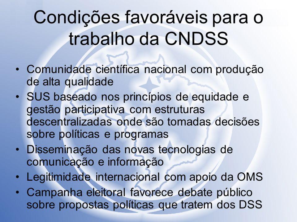Condições favoráveis para o trabalho da CNDSS Comunidade científica nacional com produção de alta qualidade SUS baseado nos princípios de equidade e g
