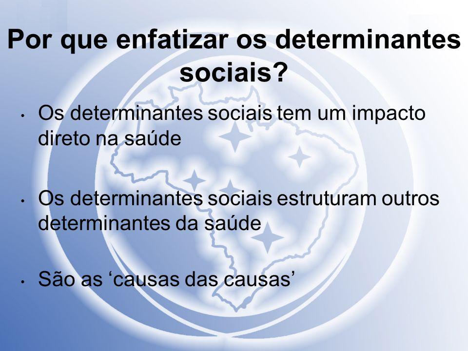 Por que enfatizar os determinantes sociais? Os determinantes sociais tem um impacto direto na saúde Os determinantes sociais estruturam outros determi