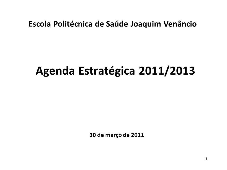 Agenda Estratégica 2011/2013 30 de março de 2011 Escola Politécnica de Saúde Joaquim Venâncio 1