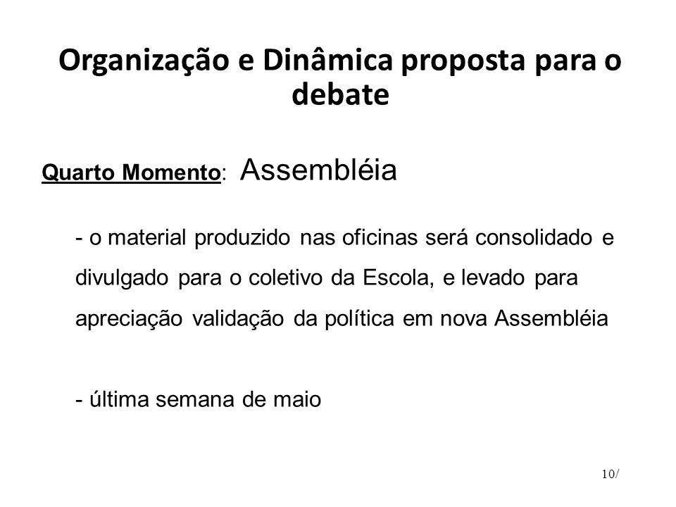 Organização e Dinâmica proposta para o debate Quarto Momento: Assembléia - o material produzido nas oficinas será consolidado e divulgado para o colet