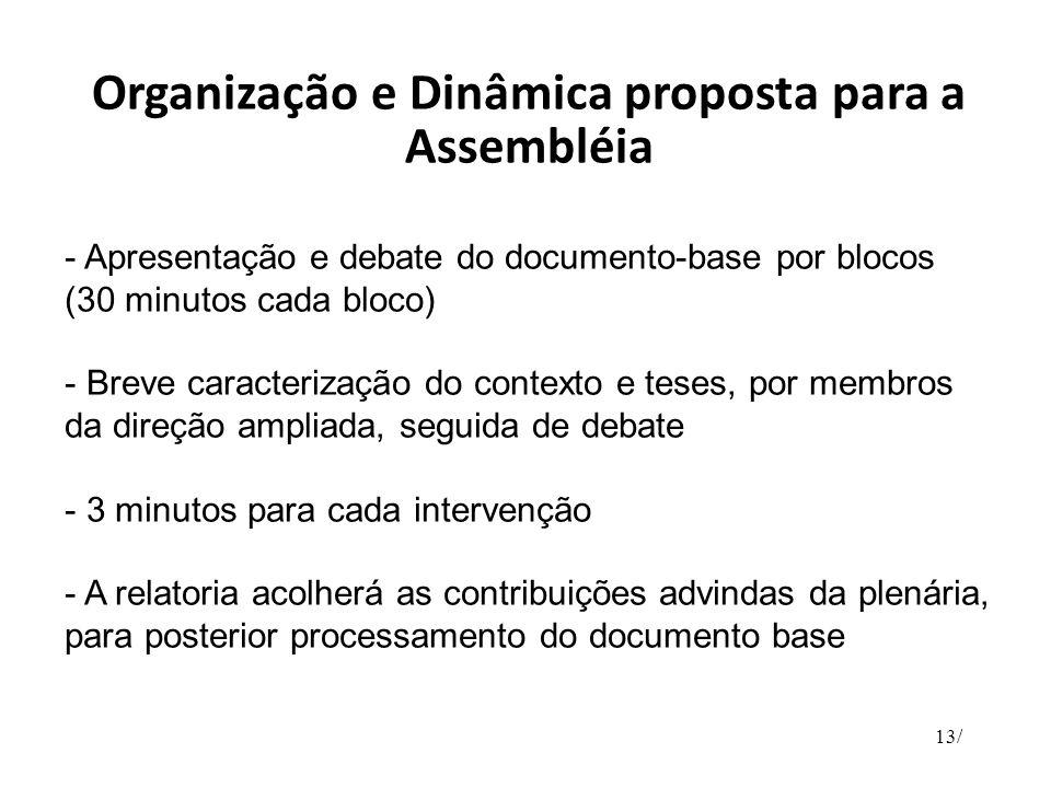 Organização e Dinâmica proposta para a Assembléia - Apresentação e debate do documento-base por blocos (30 minutos cada bloco) - Breve caracterização
