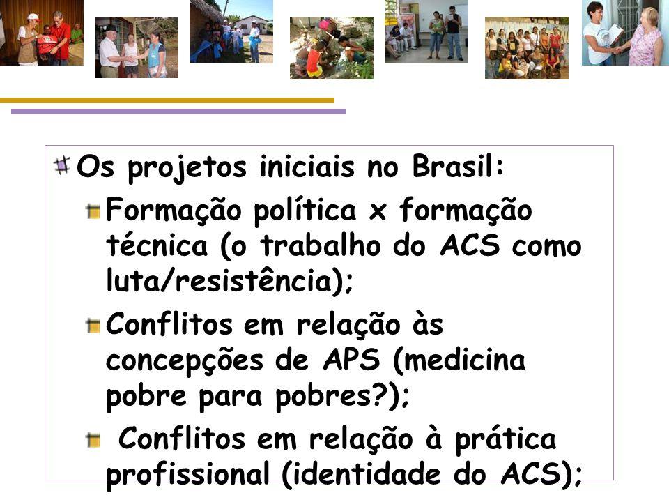 Os projetos iniciais no Brasil: Propostas de alcance local, lideradas por organizações religiosas, ONGs e outros; Formação política x formação técnica (o trabalho do ACS como luta/resistência); Conflitos em relação às concepções de APS; Conflitos em relação à prática profissional (identidade, espaço e regulação do trabalho);