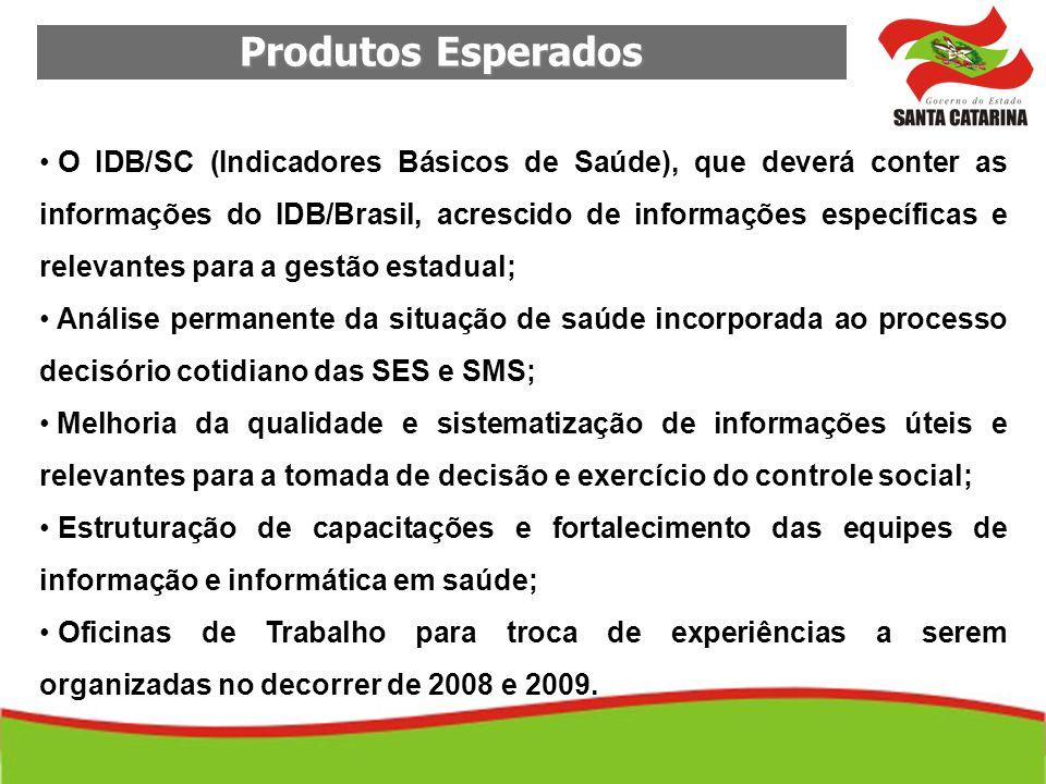 Produtos Esperados O IDB/SC (Indicadores Básicos de Saúde), que deverá conter as informações do IDB/Brasil, acrescido de informações específicas e rel