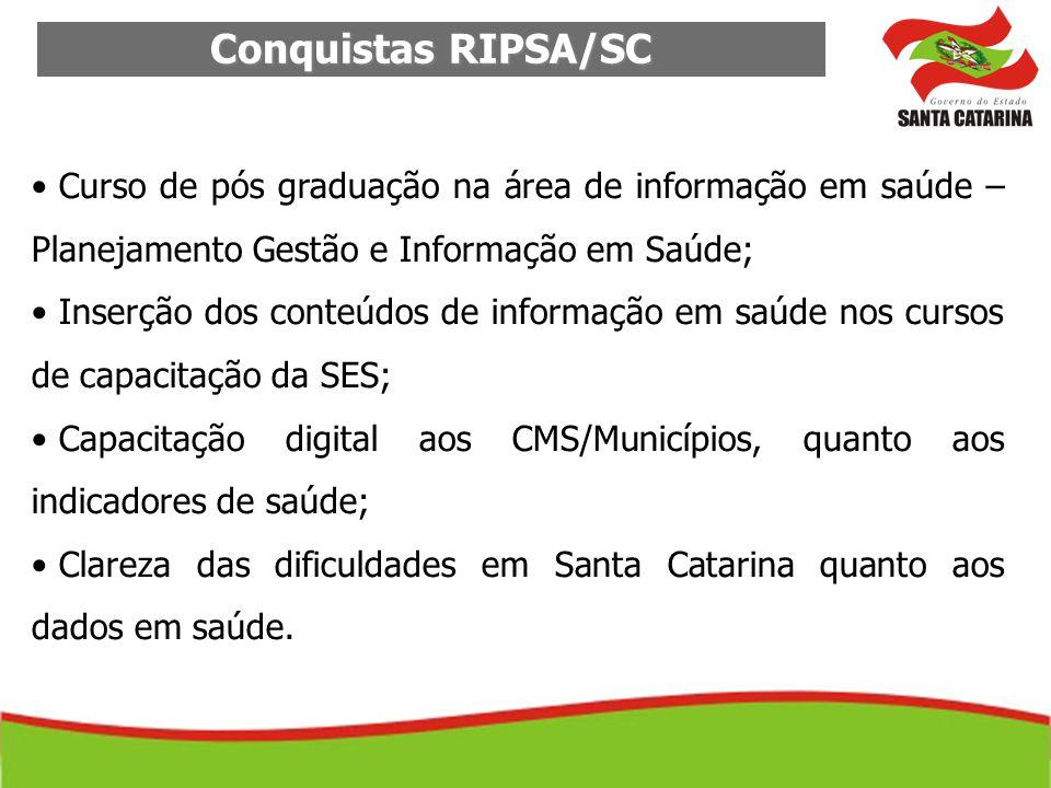 Conquistas RIPSA/SC Curso de pós graduação na área de informação em saúde – Planejamento Gestão e Informação em Saúde; Inserção dos conteúdos de infor