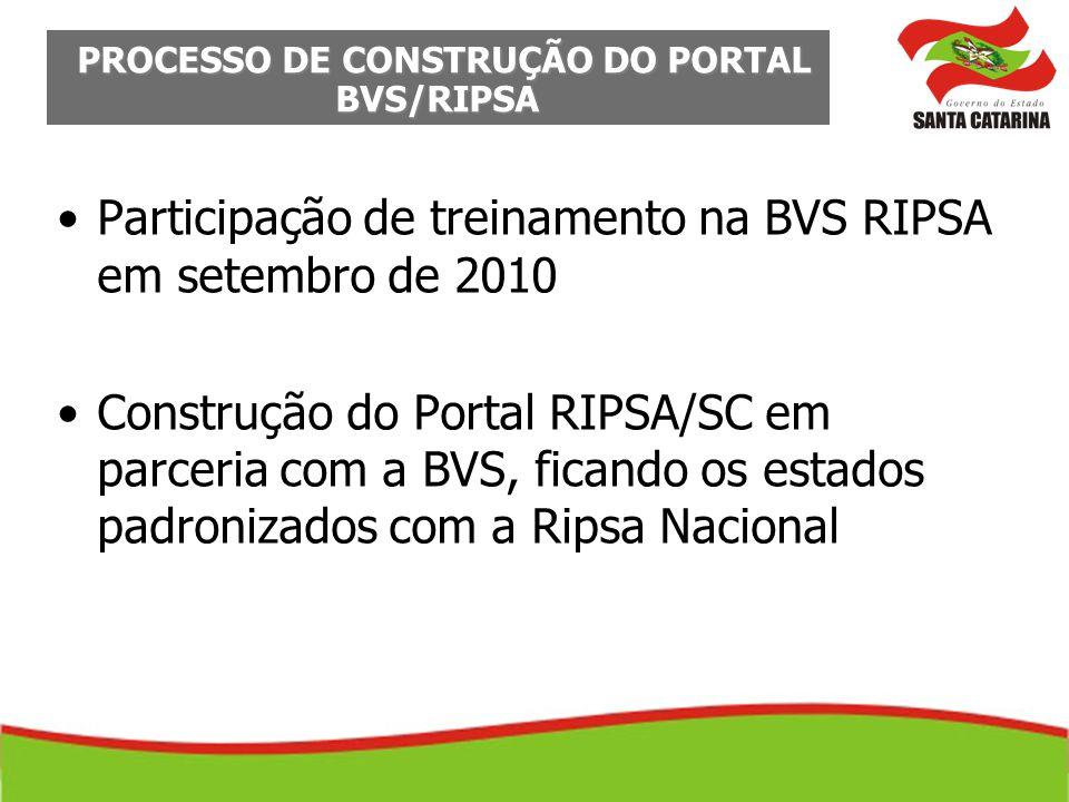 Participação de treinamento na BVS RIPSA em setembro de 2010 Construção do Portal RIPSA/SC em parceria com a BVS, ficando os estados padronizados com